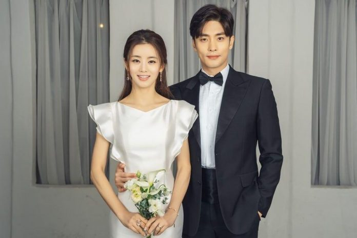 Sung Hoon and Lee Ga Ryung pose in wedding photos for the upcoming drama