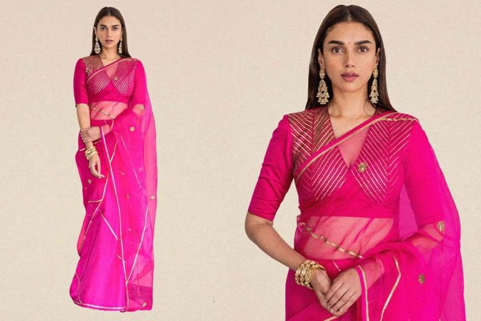 Aditi Rao Hydari, in Rs 38600 Saree-Look, is Both Radiant And Ravishing at Dia Mirza