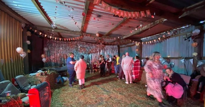 In the illegal wedding party that was blown up by the police in a converted barn