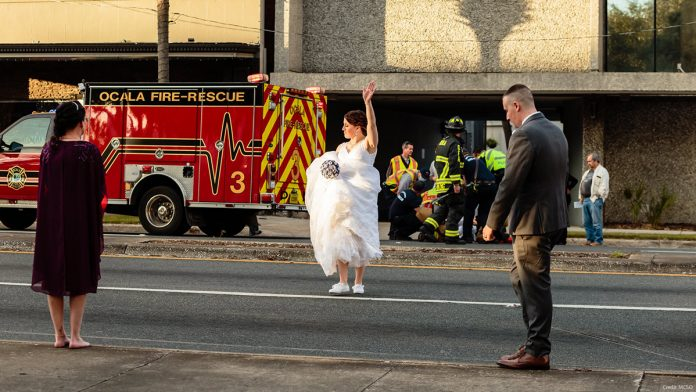 Bride & Groom save man who is hit by a car in the middle of their wedding photos